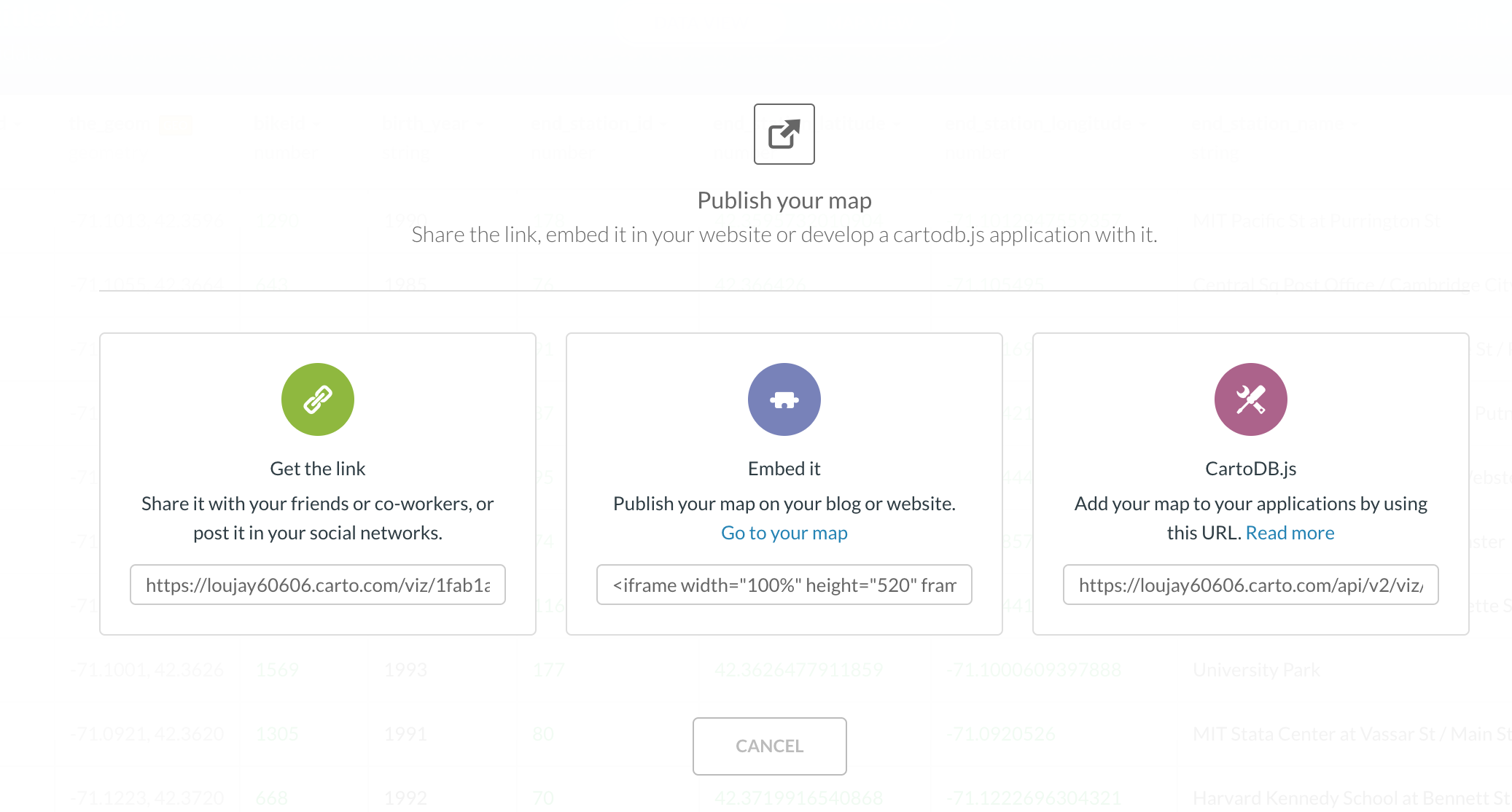 After finishing your map, you can go ahead and press the publish button to generate either URL, html or Java Script code depending on which platform are you going to share your work
